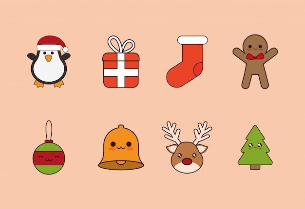 Pacote de natal com conjunto de ícones
