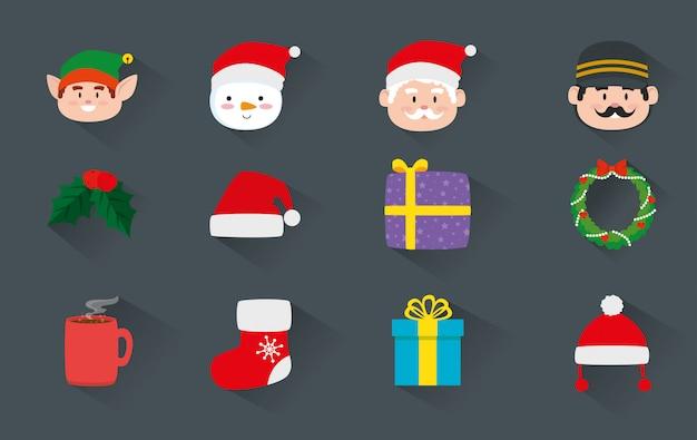 Pacote de natal com decoração e personagens