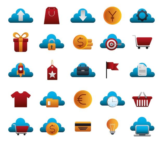 Pacote de negócios coloridos conjunto de ícones