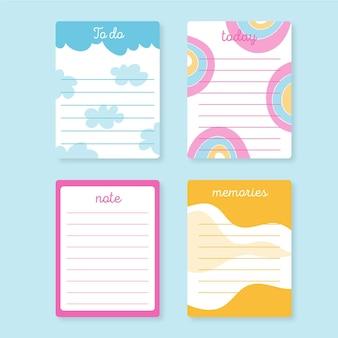 Pacote de notas e cartões bonitos do álbum de recortes