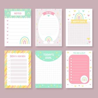 Pacote de notas e cartões de recados