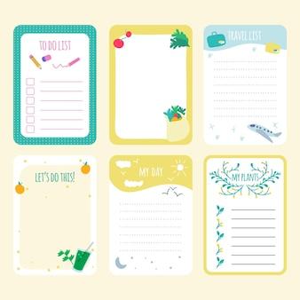 Pacote de notas e cartões de scrapbook diferentes