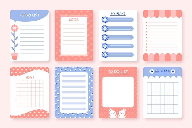 Pacote de notas e cartões de scrapbook