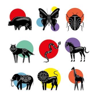 Pacote de nove animais, silhuetas contemporâneas, ícones da natureza