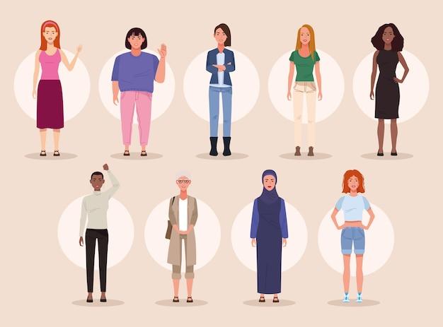 Pacote de nove belas mulheres avatares com ilustração de personagens