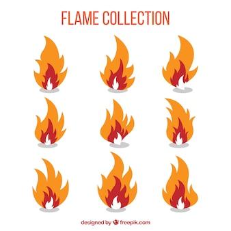 Pacote de nove chamas com três cores