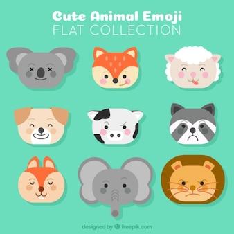 Pacote de nove emoticons animais
