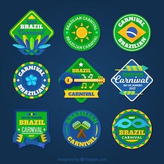 Pacote de nove etiquetas do carnaval brasileiro