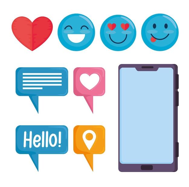 Pacote de nove ícones de conjunto de mídia social ilustração