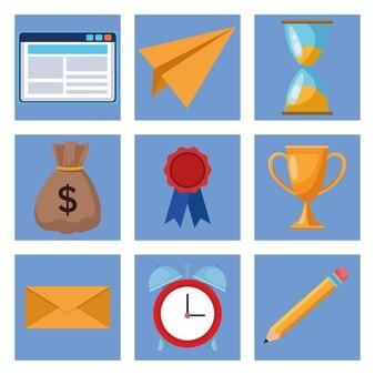 Pacote de nove ilustração de ícones de conjunto de negócios