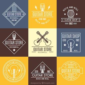 Pacote de nove logos de guitarra plana
