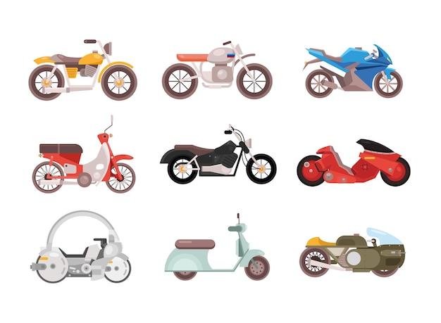 Pacote de nove motocicletas, veículos, diferentes estilos, ilustração, design