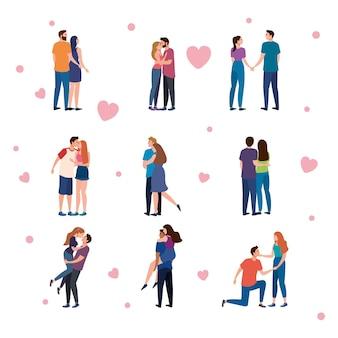 Pacote de nove personagens de amantes de casais e corações