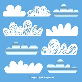 Pacote de nuvens de listras e rabiscos