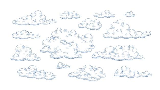 Pacote de nuvens fofas desenhadas com linhas de contorno