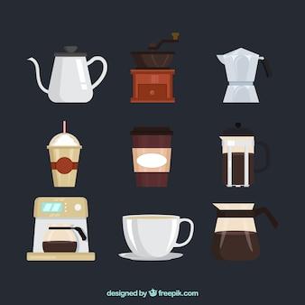 Pacote de objetos de café no design plano