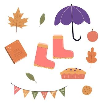 Pacote de objetos de outono no estilo desenhado à mão. elementos sazonais.