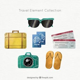 Pacote de objetos de viagem de verão de aquarela
