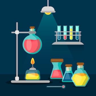 Pacote de objetos do laboratório de ciências