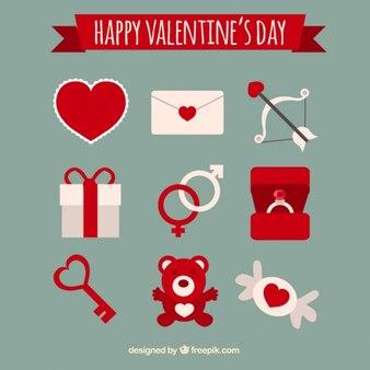 Pacote de objetos vermelhos e brancos para o dia dos namorados