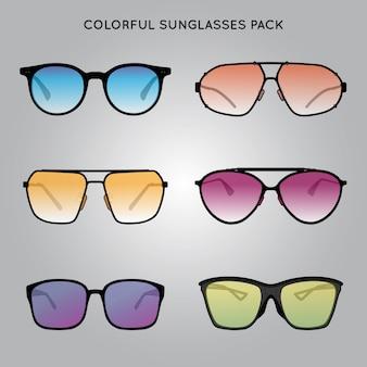 Pacote de óculos de sol coloridos