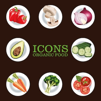 Pacote de oito ícones de vegetais frescos