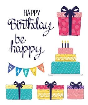Pacote de oito letras de feliz aniversário e ilustração de ícones