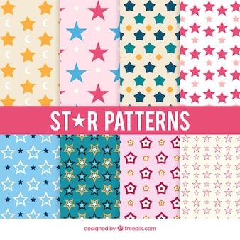 Pacote de oito padrões de estrelas em cores pastel