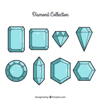 Pacote de oito pedras preciosas em design plano