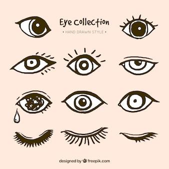 Pacote de olhos desenhados mão