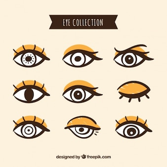 Pacote de olhos femininos pintados à mão