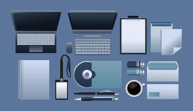 Pacote de onze materiais de escritório e tecnologia