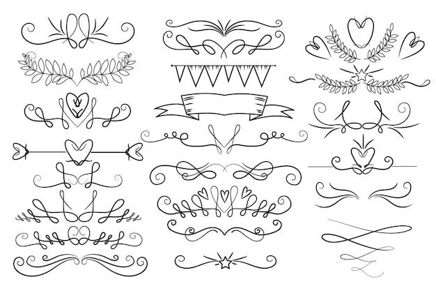 Pacote de ornamento caligráfico desenhado à mão