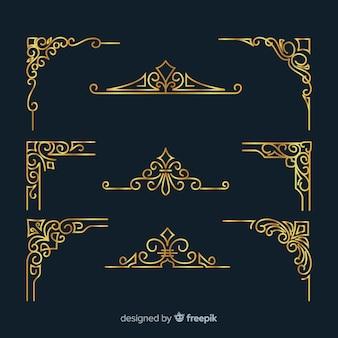 Pacote de ornamento de borda dourada
