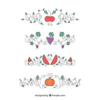 Pacote de ornamentos com frutas e vegetais desenhados a mão