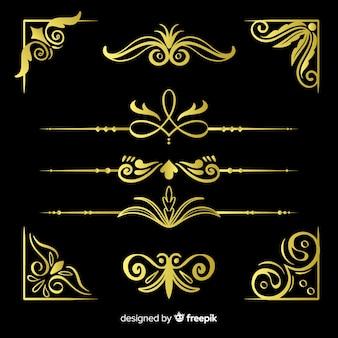 Pacote de ornamentos de borda dourada