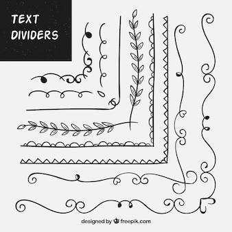 Pacote de ornamentos desenhados à mão para texto