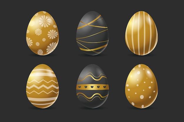 Pacote de ovo de dia de páscoa dourado