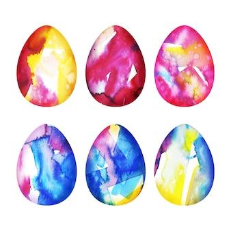 Pacote de ovos de páscoa em aquarela