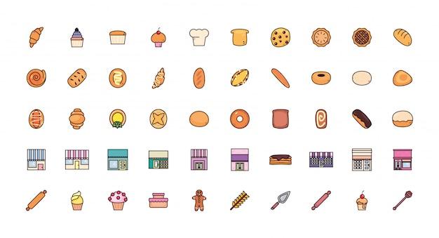 Pacote de padaria de pão com conjunto de ícones