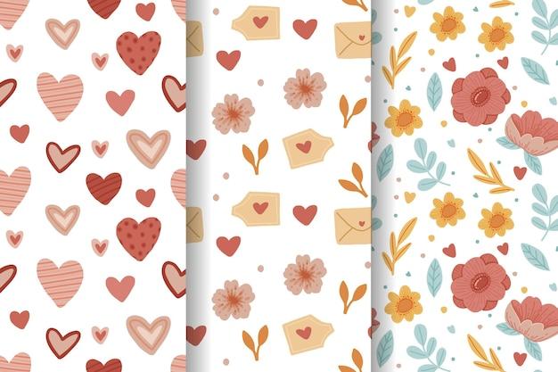 Pacote de padrão adorável desenhado à mão para o dia dos namorados