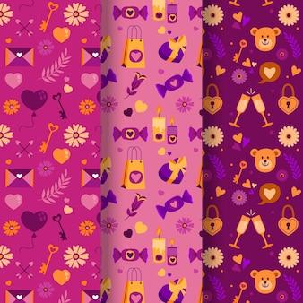 Pacote de padrão adorável desenhado para o dia dos namorados