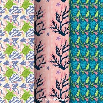 Pacote de padrão coral colorido liso