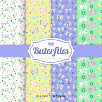 Pacote de padrão de borboleta plana colorida