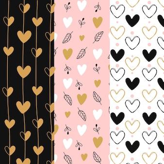 Pacote de padrão de coração de design plano