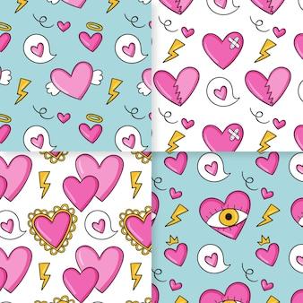 Pacote de padrão de coração desenhado de mão