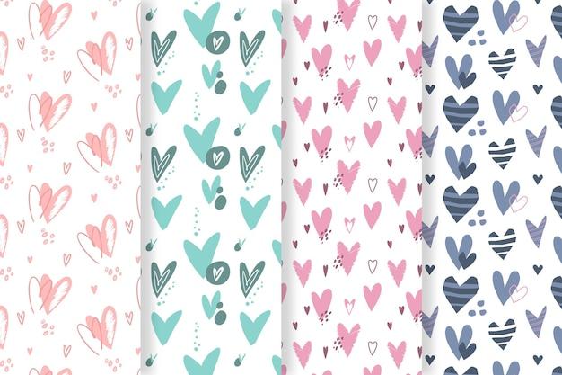Pacote de padrão de coração desenhado