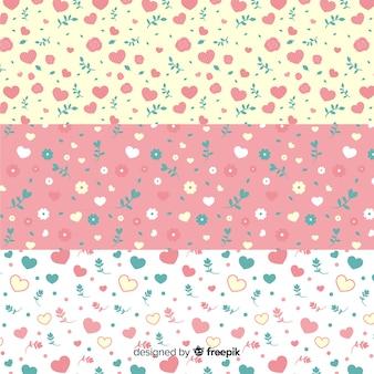 Pacote de padrão de corações e flores do dia dos namorados