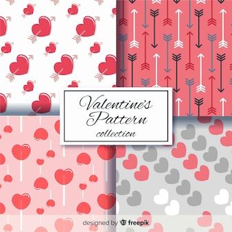 Pacote de padrão de corações e setas dos namorados