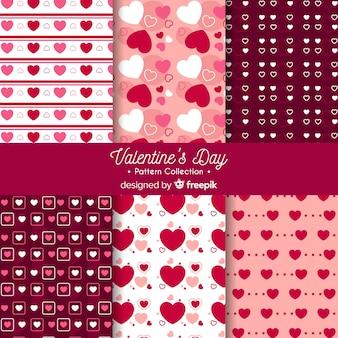 Pacote de padrão de corações plana de dia dos namorados